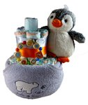 Windeltorte Pinguin grau